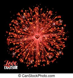 Shiny Explosion Red Hearts. Shimmer sparkle Frame Border Confetti Greeting Valentine's day card. Vector Illustration on Black Background