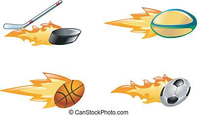 Shiny flaming sport icons