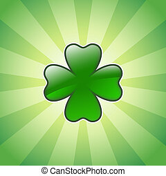 shiny four leaves clover; design for St. Patrick's Day