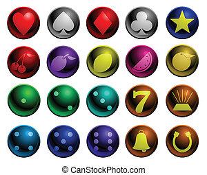 Shiny gambling icons