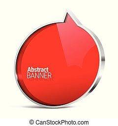 Shiny gloss red vector banner. Vector illustration.