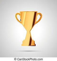Shiny glossy badge of winner cup made from gold. Simple award icon