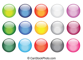 shiny glossy glass buttons icons - vector illustrations of...
