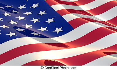 Shiny, glossy flag of the USA slowly waving in the wind - seamless loop