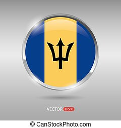 Shiny, glossy vector badge with Barbados flag