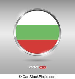 Shiny, glossy vector badge with Bulgaria flag