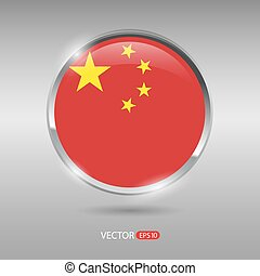 Shiny, glossy vector badge with China flag