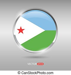 Shiny, glossy vector badge with Djibouti flag
