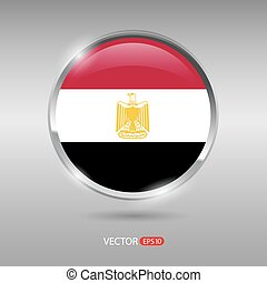 Shiny, glossy vector badge with Egypt flag