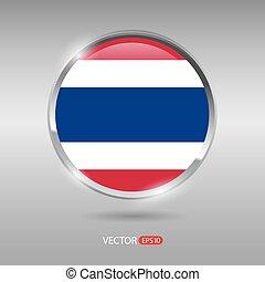 Shiny, glossy vector badge with Thailand flag