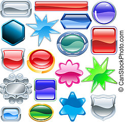 Shiny glossy web shields and backgrounds