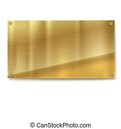 Shiny gold brushed metal, yellow plate banner isolated on white background. Stainless steel background, 3D illustration for your design.