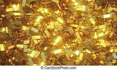 Shiny gold bullions - Pile of gold bullions. Realistic 3D...