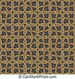 Shiny gold Celtic seamless pattern
