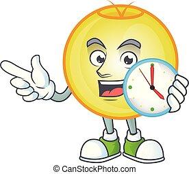 Shiny gold christmas ball with bring clock mascot