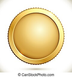 Shiny gold coin isolated on a white background.