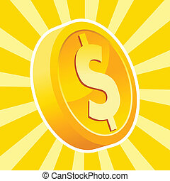 Shiny gold coin - Vector illustration of a shiny gold dollar...