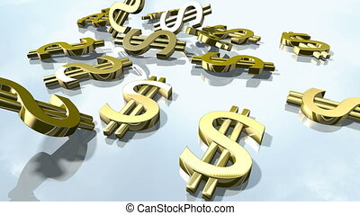 Shiny gold dollar money signs. 3d rendering