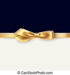Shiny gold satin ribbon on white and black background....