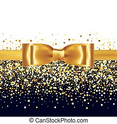 Shiny gold satin ribbon on white background - Golden glitter...
