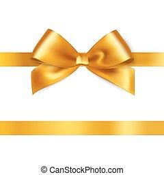 Shiny gold satin ribbon on white background