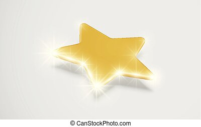 Shiny gold star with drop shadow, vector illustartion
