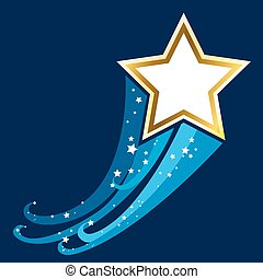 Shiny Gold Star with space. Illustration for design on blue background