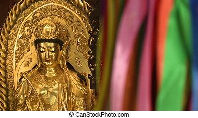 Shiny Gold Statue | Kek Lok Si Temple, Penang - Close-up...