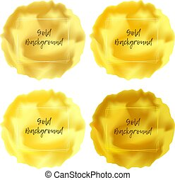 Bright golden viscous liquid background with frame for text, lava textured round place in yellow gold colors for advertising design, badge, label