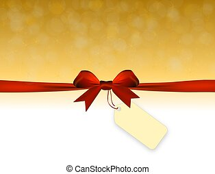Shiny golden background with red bow with price tag