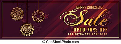 shiny golden christmas sale banner design