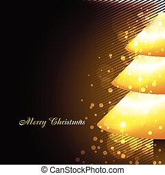 shiny golden christmas tree