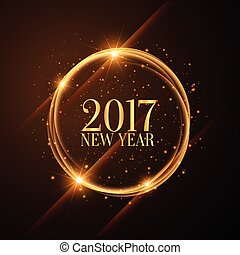 shiny golden circles with 2017 happy new year wishes
