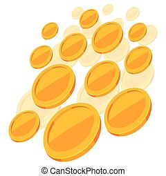 Shiny golden coins falling on white background