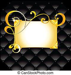 golden frame - shiny golden frame on leather black ...