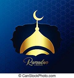 shiny golden mosque design for ramadan kareem background