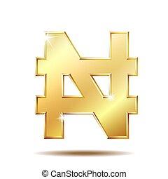 Shiny golden Nigerian Naira sign - Shiny golden Naira sign....