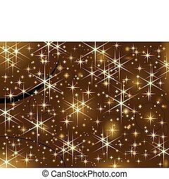 Shiny golden stars, Christmas spark - Dark brown background...