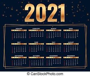 shiny golden style 2021 calendar design template