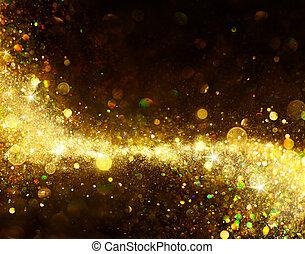 Shiny Golden Trail On Black - Glittering Dust