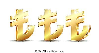 Shiny golden Turkish Lira Sign. TL currency symbol. Turkish Money. Vector illustration isolated on white background