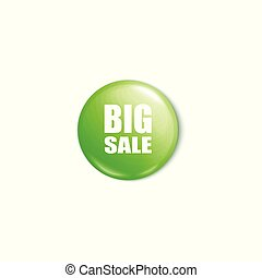 Shiny green big sale button 3d realistic vector illustration mockup isolated.