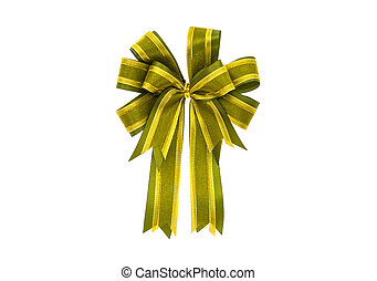 Shiny green ribbon on white background with copy space.