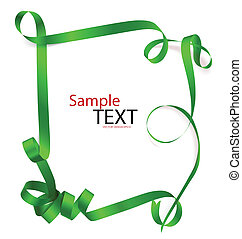 Shiny green ribbon on white background with copy space. Vector illustration.