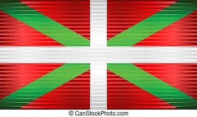 Shiny Grunge flag of the Basque - Illustration,  Three dimensional flag of Basque