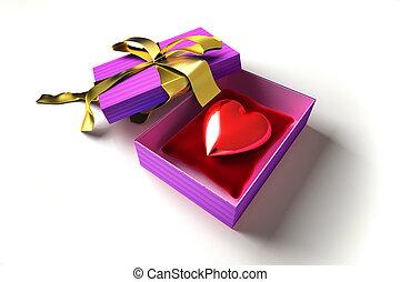 Shiny heart into a gift box.