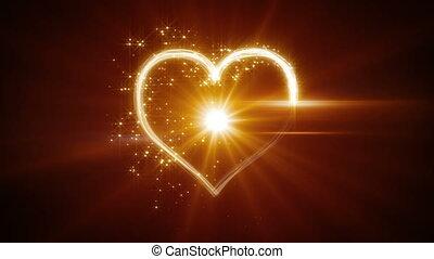 shiny heart shape yellow light streaks loopable