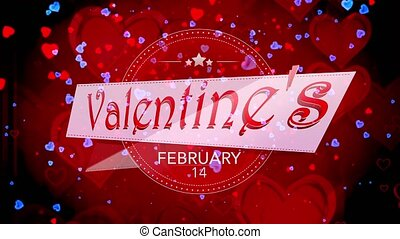 Shiny heart. Valentines Day. Background with a red hearts -...