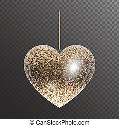 Shiny transparent heart with gold sparkles for Christmas decor. Vector illustration for valentines day with light effect.