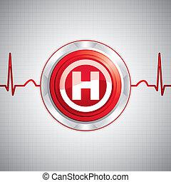 Hospital sign - Shiny Hospital sign. Steel style medical ...